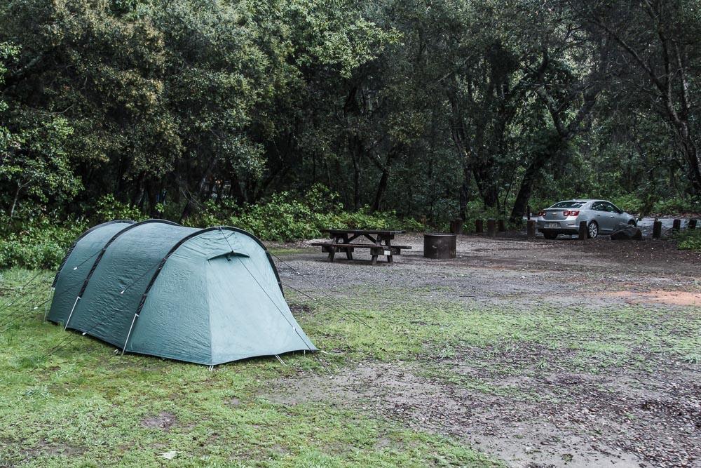 Unser grünes Zelt auf der Campsite im Pfeiffer Big Sur State Park