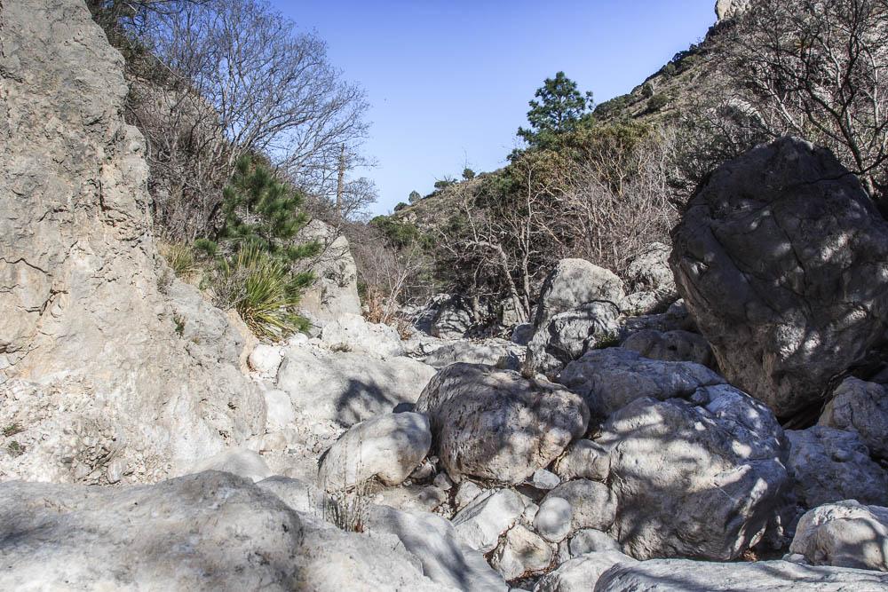 Steiniger Wanderweg auf der Wanderung zur Devils Hall im Guadalupe Mountains National Park. Bildrechte: Christian Volk