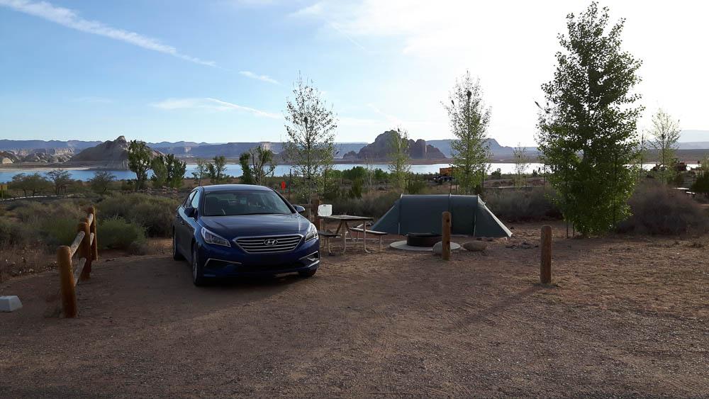 Parken konnten wir auch am Wahweap Campground direkt an der Tentsite