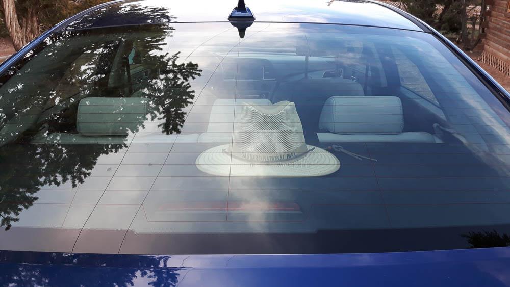 Saguaro Hut auf der Heckablage eines Hyundai Sonata