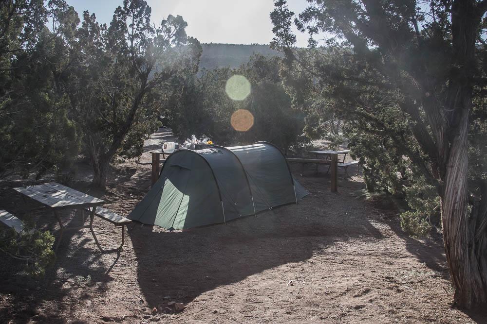 Tunnelzelt auf dem KOA Campground in Santa Fe