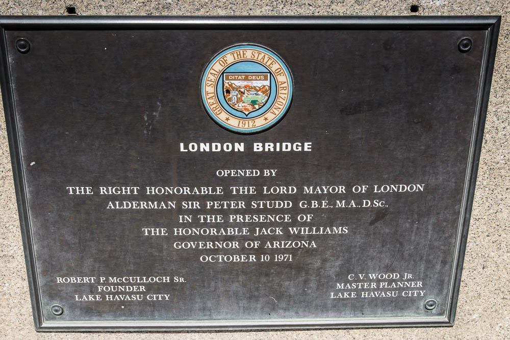 Schild der originalen London Bridge in Lake Havasu City