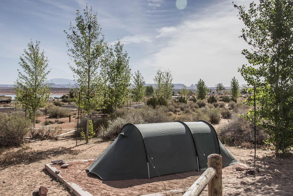 Unsere Tentsite mit unserem Tunnelzelt am Wahweap Campground