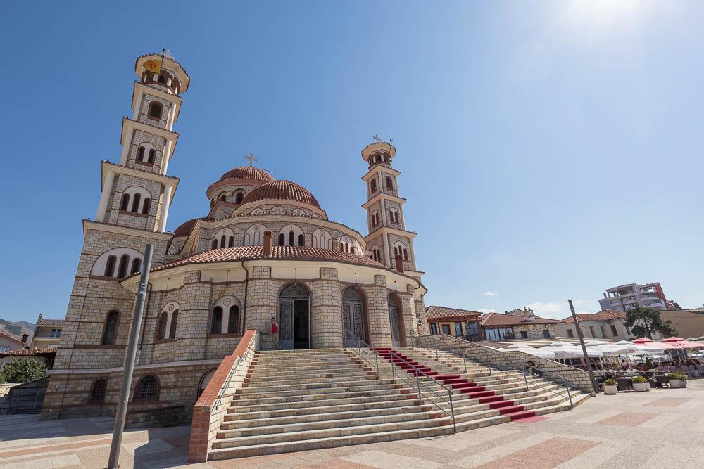 Orthodoxe Kathedrale in Korca. Eine von vielen Sehenswürdigkeiten in Albanien.