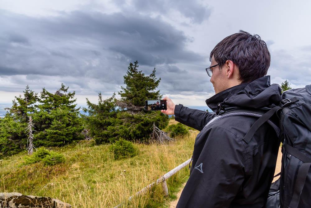 Selfie auf dem Gipfel des Brockens