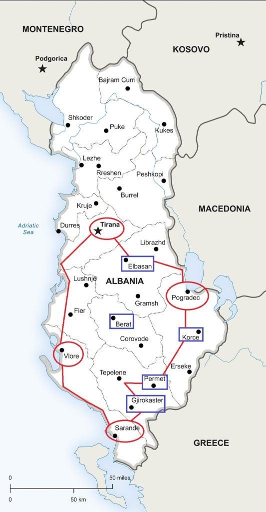 Reiseroute Albanien
