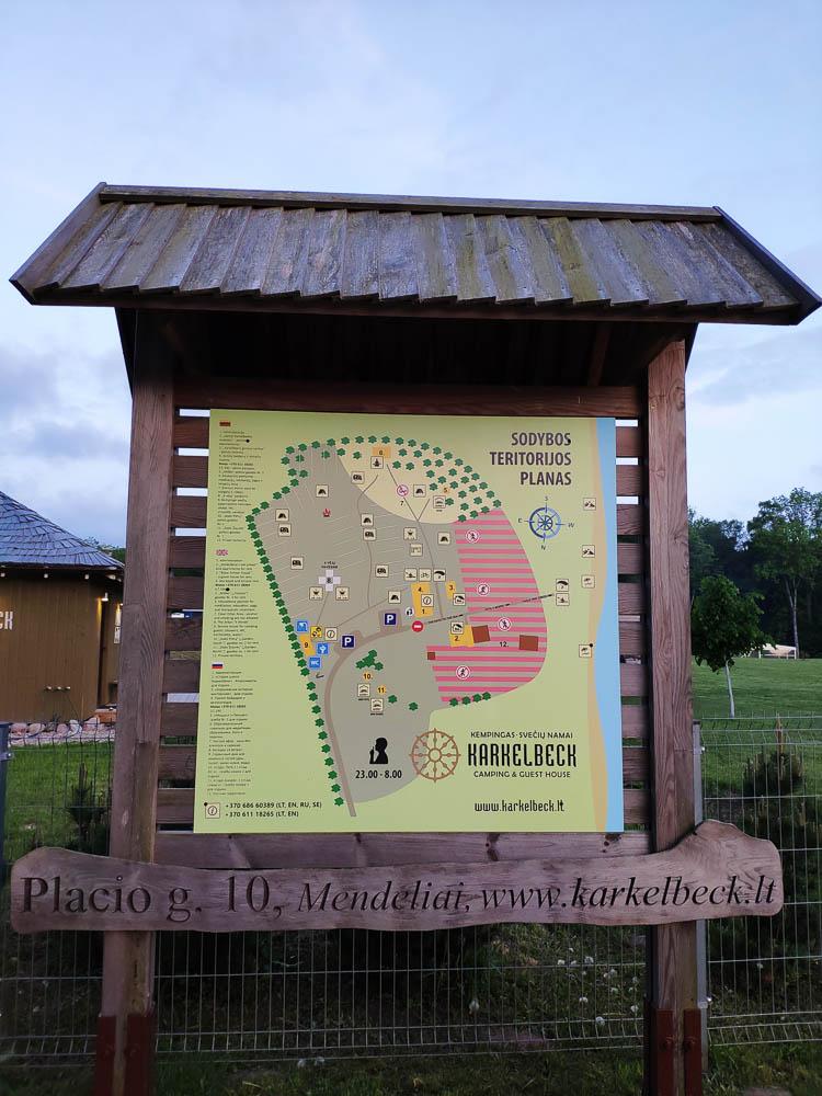 Übersichtsplan des Campingplatzes Karkelbeck in Litauen