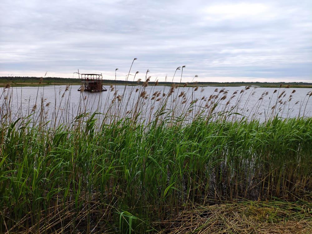 Ermistu Järv mit Saunafloß auf dem See