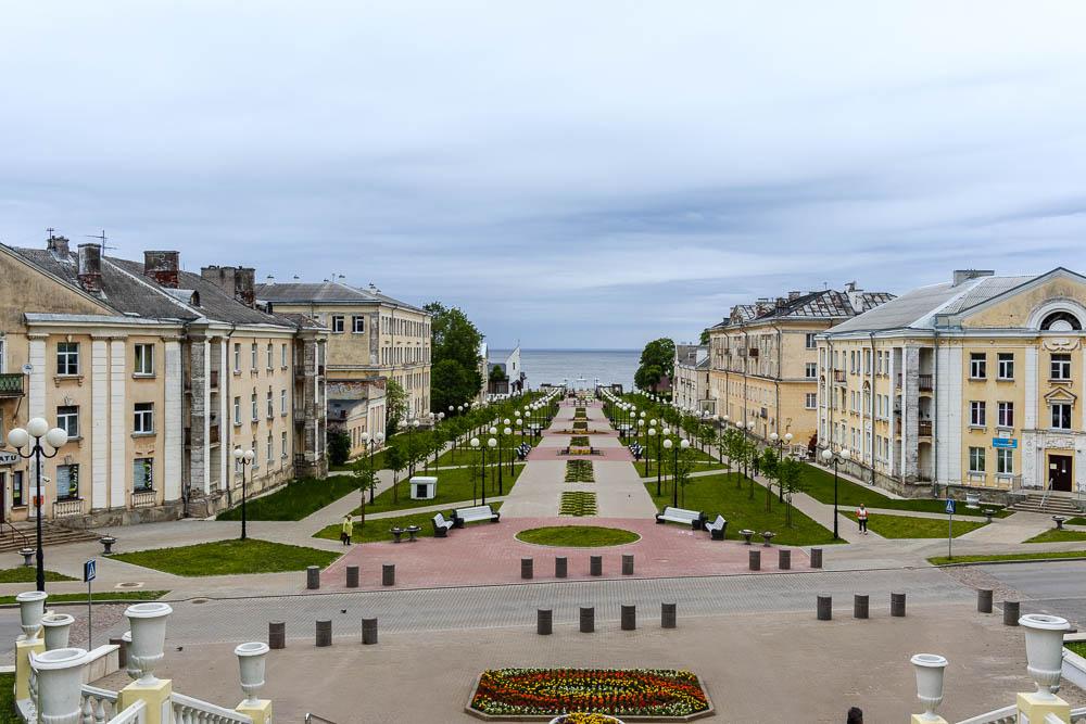 Blick auf das Stadtzentrum Sillamäes in Estland