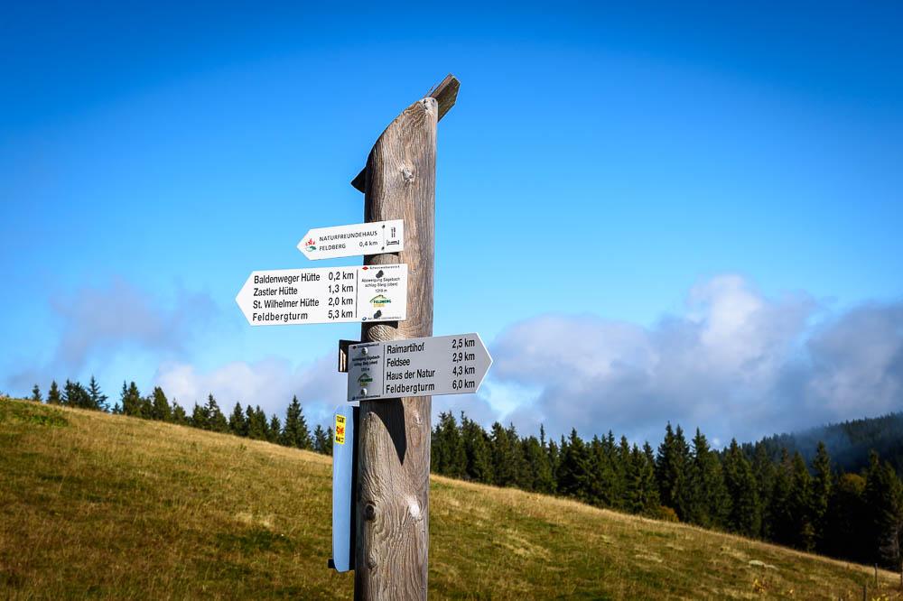 Wanderwegweiser am Feldberg