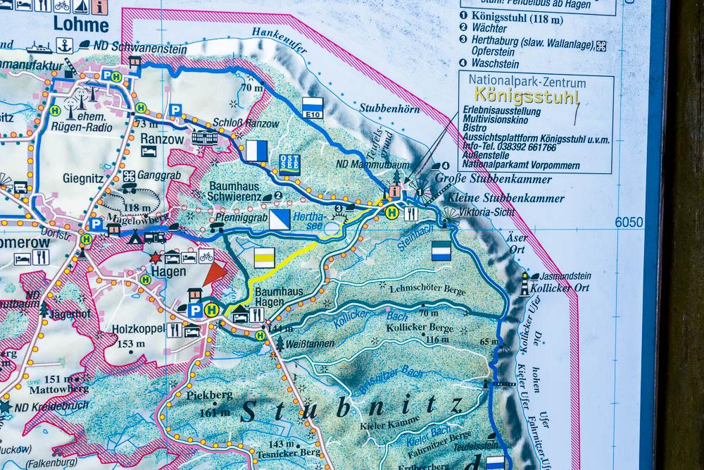 Wandern im Nationalpark Jasmund ersichtlich auf einem Ausschnitt der Wanderkarte