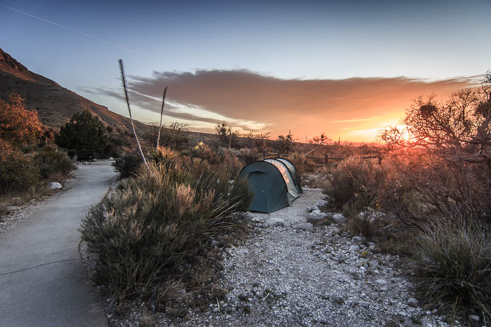 Tentsite des Pine Spring Campgrounds im Guadalupe Mountains National Park