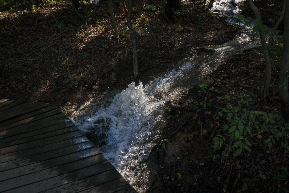 Rinnsal der Krka unterspült einen Bohlenwanderweg