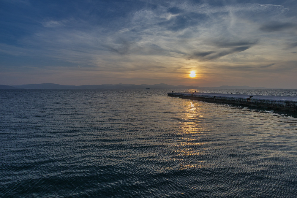 Der Sonnenuntergang an der Meeresorgel in Zadar