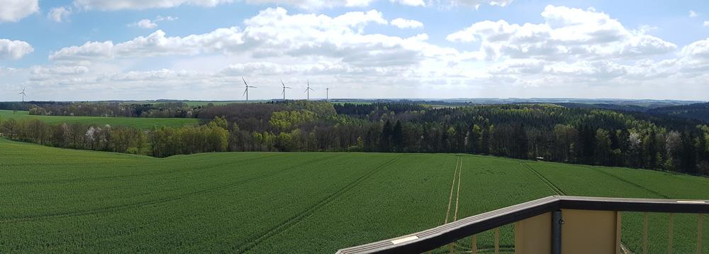 Aussicht von der Plattform aus in 26 Meter Höhe des Aussichtsturm Böhrigen