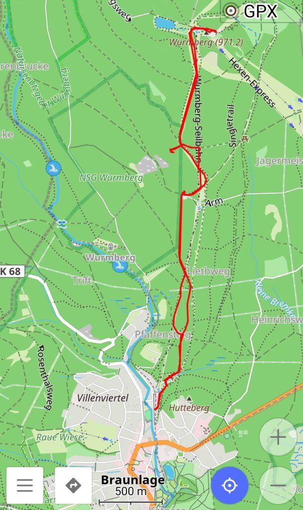 Wir haben unsere recht geradlinige Tour auf den Wurmberg und zurück nach Braunlage getrackt.