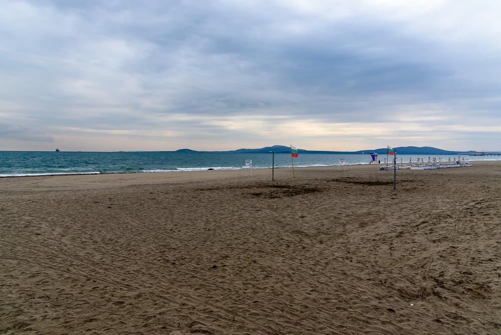 Bei dem Wetter war auch am Strand von Burgas kaum etwas los