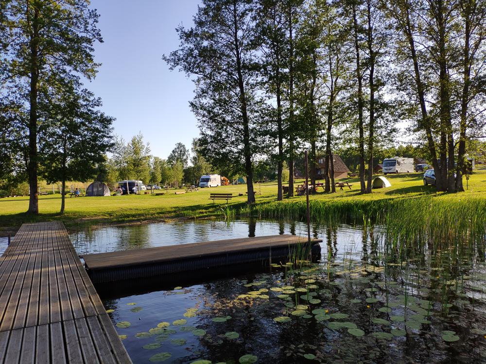 Großer Badesteg am See unweit der großen Wiese von Camping Apalkalns