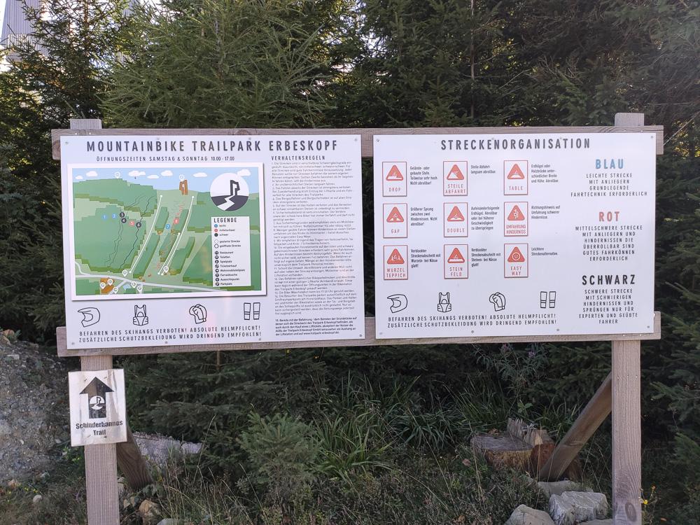 Infotafel zum Mountainbike Trailpark am Erbeskopf