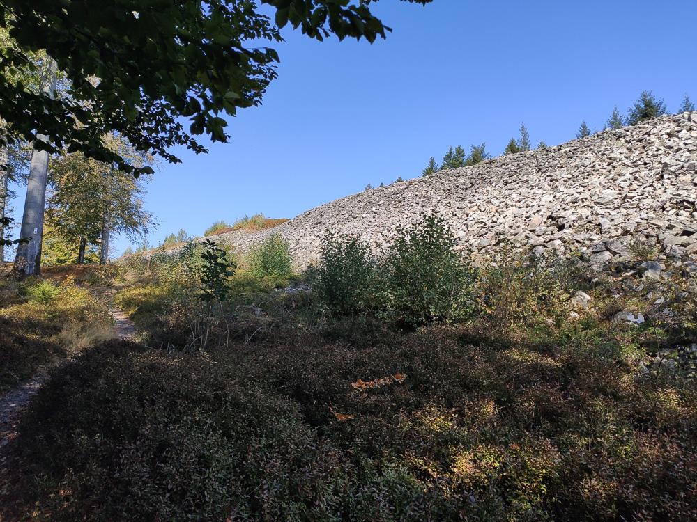 Der kurze Weg entlang des besonders imposanten Nordwalls des keltischen Ringwalls von Otzenhausen