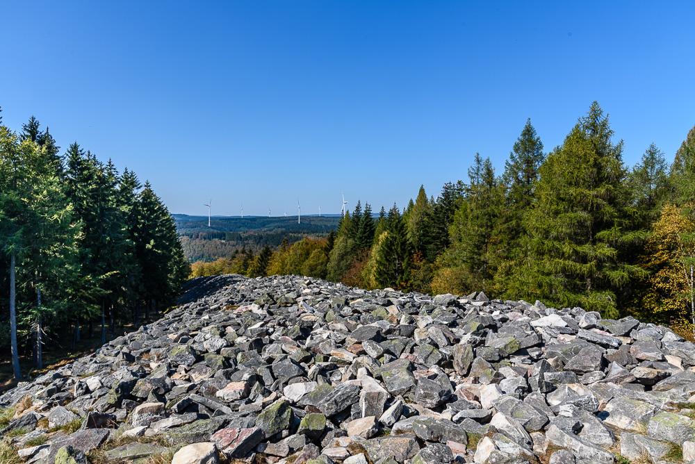 Wir überqueren den Ringwall auf der steinernen Treppe und haben noch einmal eine gute Aussicht auf die Umgebung ehe wir wieder im Wald verschwinden