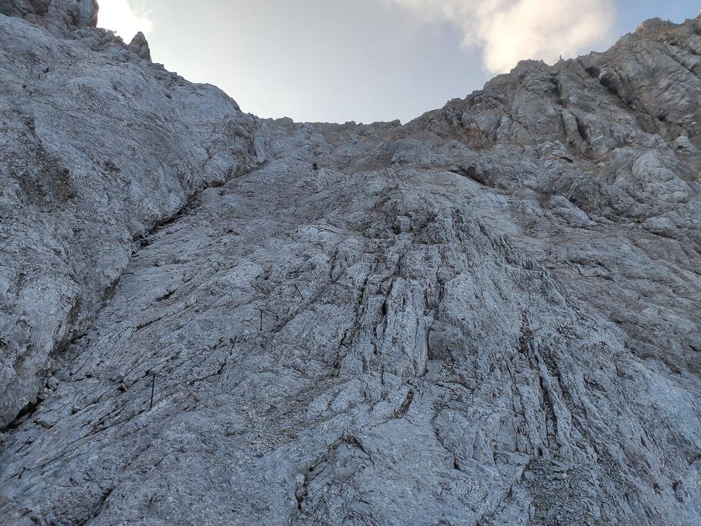 Da mussten wir jetzt hoch am Stopselzieher-Klettersteig
