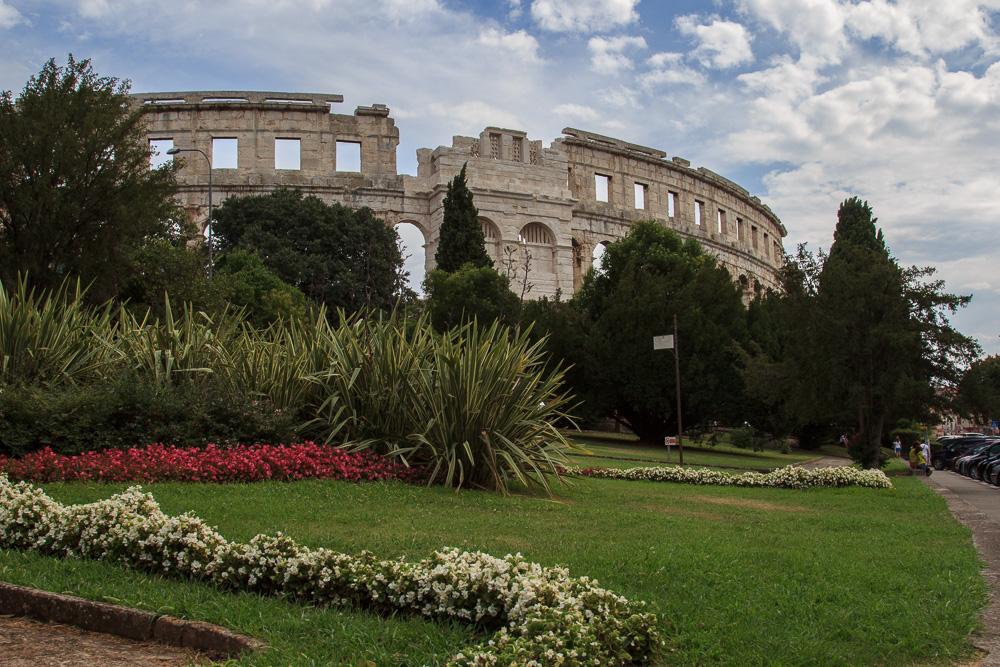 Das berühmte Amphitheater von Pula in Istrien, Kroatien
