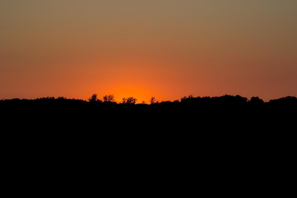 Sonnenuntergang beobachtet von der Dachterrasse unseres Ferienhauses in Kroatien aus