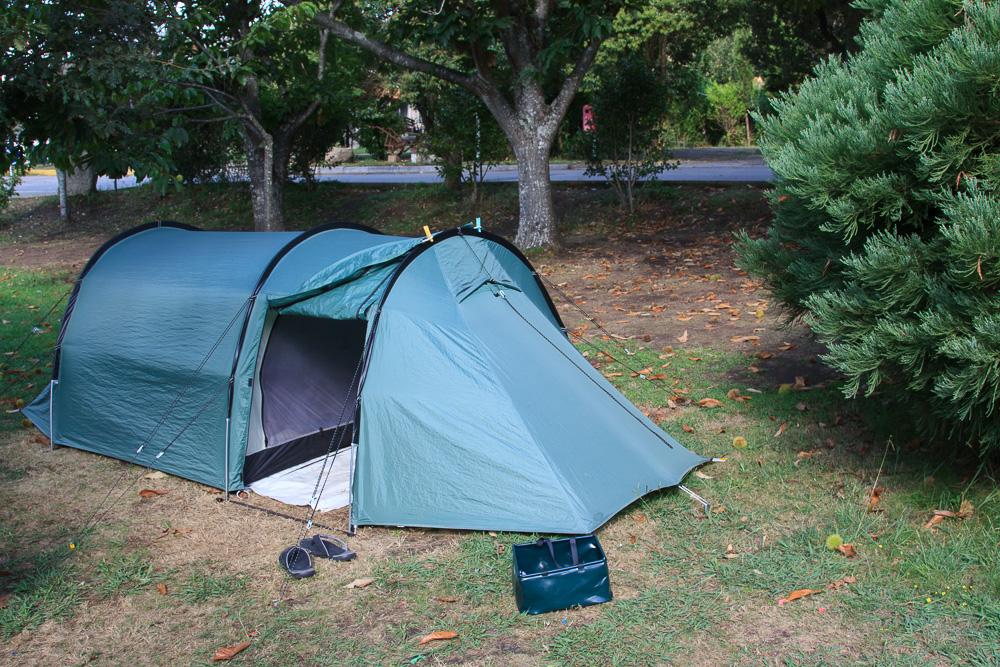 Unser Zelt auf dem Platz Rural Ria de Arosa 2 in Galizien