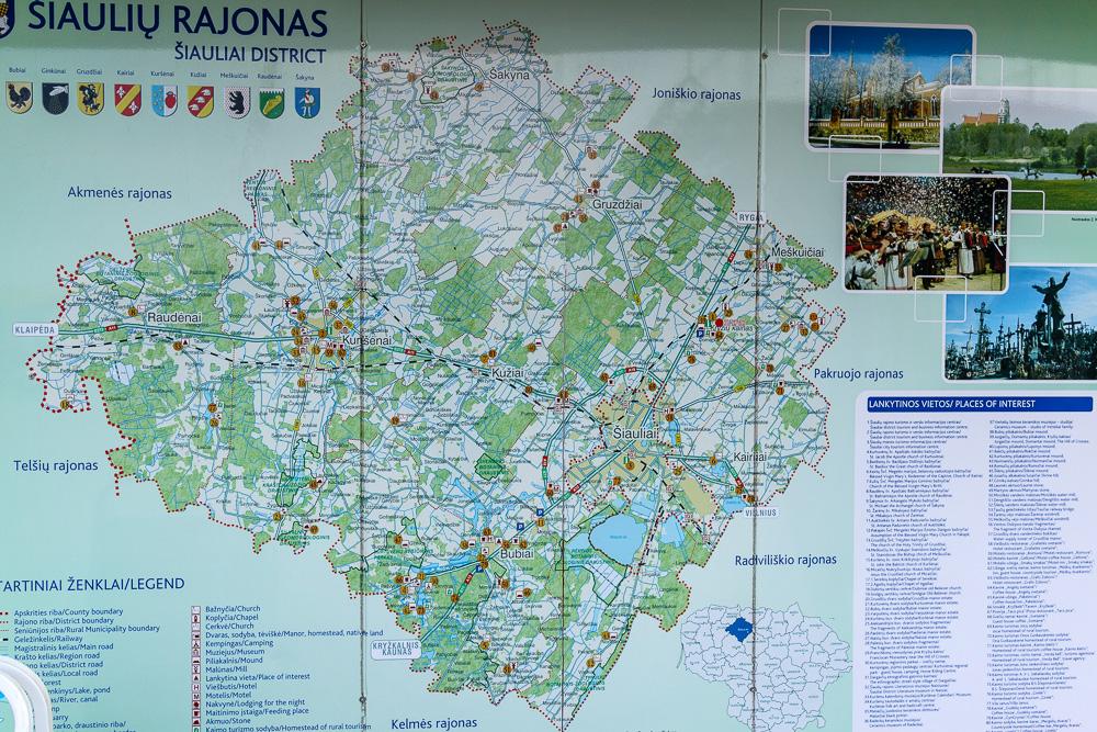Die Gegend rund um Šiauliai. Karte der Gegend.